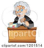 Cartoon Of A Happy Male Judge With A Bible And Gavel Royalty Free Vector Clipart by visekart