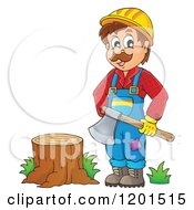Cartoon Of A Happy Lumberjack Man Holding An Axe By A Stump Royalty Free Vector Clipart by visekart