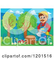 Happy Lumberjack Man Standing With An Axe By A Stump
