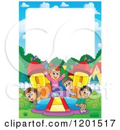 Cartoon Of Happy Children Playing On A Bouncy House Castle With White Copyspace Royalty Free Vector Clipart