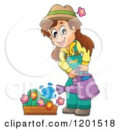 Cartoon Of A Happy Brunette Girl Watering A Flower Garden Royalty Free Vector Clipart