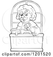 Cartoon Of A Happy Outlined Male Judge With A Bible And Gavel Royalty Free Vector Clipart