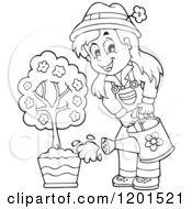 Cartoon Of A Happy Outlined Girl Watering A Potted Tree Royalty Free Vector Clipart