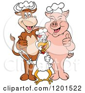 Cartoon Of A Happy Chef Bull Chicken And Pig Holding Thumbs Up And Tongs Royalty Free Vector Clipart