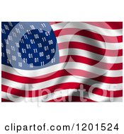 Clipart Of A 3d Rippling American USA Spy Flag With Binary Instead Of Stars Royalty Free CGI Illustration