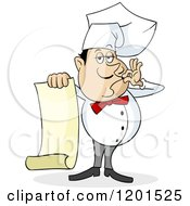 Cartoon Of A Chef Kissing His Fingers And Holding A Menu Royalty Free Vector Clipart by Holger Bogen #COLLC1201525-0045