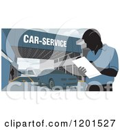 Clipart Of A Technician Taking Notes At A Car Service Station Royalty Free Vector Illustration