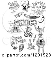 Clipart Of Black And White Doodled Mexican And Cinco De Mayo Items Royalty Free Vector Illustration by David Rey