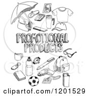 Clipart Of Black And White Sketched Promotional Products Text And Retail Items Royalty Free Vector Illustration