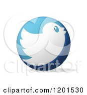 Round Blue Icon With A White Tweet Bird And Shadow On White