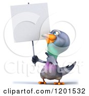 Clipart Of A 3d Pigeon Mascot Holding And Pointing To A Sign Royalty Free CGI Illustration