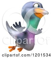Clipart Of A 3d Pigeon Mascot Flying To The Right Royalty Free CGI Illustration