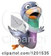 Clipart Of A 3d Pigeon Mascot Flying With An Envelope Royalty Free CGI Illustration