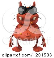 Clipart Of A 3d Red Germ Wearing Sunglasses Royalty Free CGI Illustration