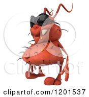 Clipart Of A 3d Red Germ Wearing Sunglasses And Facing Left Royalty Free CGI Illustration