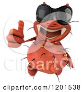 Clipart Of A 3d Red Germ Wearing Sunglasses And Holding A Thumb Up Royalty Free CGI Illustration