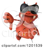 Clipart Of A 3d Red Germ Wearing Sunglasses And Holding A Thumb Down Royalty Free CGI Illustration