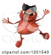 Clipart Of A 3d Red Germ Wearing Sunglasses And Jumping Royalty Free CGI Illustration