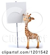 Clipart Of A 3d Giraffe Standing By A Sign Royalty Free CGI Illustration