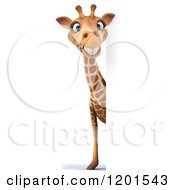 Clipart Of A 3d Happy Giraffe Smiling Around A Sign Royalty Free CGI Illustration