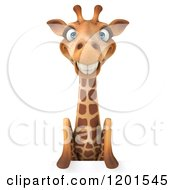 Clipart Of A 3d Happy Giraffe Smiling Over A Sign Royalty Free CGI Illustration