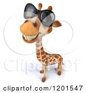 Clipart Of A 3d Happy Giraffe Wearing Sunglasses Royalty Free CGI Illustration
