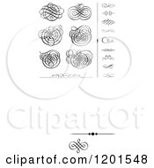 Clipart Of Black Swirl Designs And Borders 2 Royalty Free Vector Illustration
