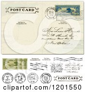 Clipart Of A Vintage Post Card With A Postmark Cash And Stamps Royalty Free Vector Illustration
