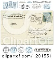 Clipart Of A Vintage Post Card With A Postmark And Stamps Royalty Free Vector Illustration by BestVector