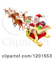 Cartoon Of Santa Looking Back And Waving While Flying In His Magic Reindeer Sleigh Royalty Free Vector Clipart