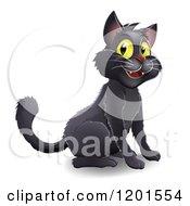 Cartoon Of A Happy Black Halloween Cat With Yellow Eyes Royalty Free Vector Clipart by AtStockIllustration
