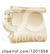 Cartoon Of A Mummy Pointing To A Halloween Scroll Sign Royalty Free Vector Clipart