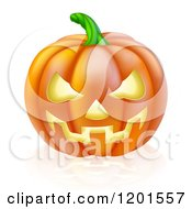 Cartoon Of A Grinning Carved Halloween Jack O Lantern Pumpkin And Reflection Royalty Free Vector Clipart