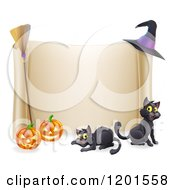 Cartoon Of A Halloween Scroll Sign With Black Cats Jackolanterns A Broomstick And Witch Hat Royalty Free Vector Clipart by AtStockIllustration