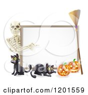 Skeleton Pointing To A Halloween Sign With Black Cats A Broomstick And Pumpkins