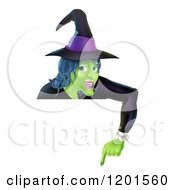 Cartoon Of A Green Halloween Witch Wearing A Hat And Pointing Down At A Sign Royalty Free Vector Clipart