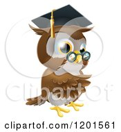 Cartoon Of A Pointing Professor Owl With Glasses And Graduation Cap Royalty Free Vector Clipart by AtStockIllustration