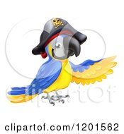 Cartoon Of A Pointing Blue And Gold Macaw Pirate Parrot Royalty Free Vector Clipart
