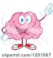 Happy Pink Brain Mascot Holding Up An Idea Finger by Hit Toon