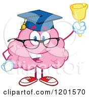 Cartoon Of A Pink Brain Mascot Graduate Ringing A Bell Royalty Free Vector Clipart by Hit Toon
