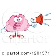 Shouting Angry Pink Brain Mascot With A Megaphone