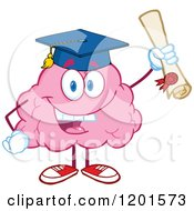 Cartoon Of A Pink Brain Mascot Graduate Holding Up A Diploma Royalty Free Vector Clipart by Hit Toon