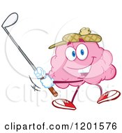 Cartoon Of A Sporty Pink Brain Mascot Golfing Royalty Free Vector Clipart by Hit Toon
