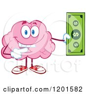 Pink Brain Mascot Holding And Pointing To A Dollar Bill by Hit Toon