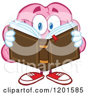 Pink Brain Mascot Reading A Book by Hit Toon