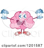 Cartoon Of A Pink Brain Mascot With Euro Eyes And Cash Royalty Free Vector Clipart