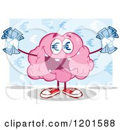 Cartoon Of A Pink Brain Mascot With Euro Eyes And Cash Over Blue Royalty Free Vector Clipart