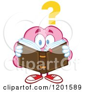 Cartoon Of A Confused Pink Brain Mascot With A Question Mark Reading A Book Royalty Free Vector Clipart by Hit Toon