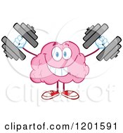 Cartoon Of A Strong Pink Brain Mascot Lifting Dumbbells Royalty Free Vector Clipart by Hit Toon