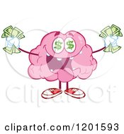 Cartoon Of A Rich Pink Brain Mascot With Dollar Eyes And Cash Royalty Free Vector Clipart by Hit Toon